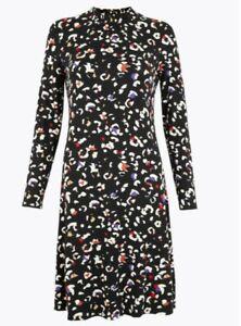 M&S Size 22 Elasticated Neck Swing Dress BNWT Jersey Stretch Animal Print Black