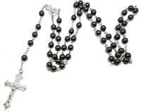 Black Bead Rosary Long Prayer Holy Beads Hematite Cross Necklace
