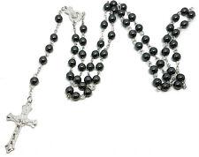 Black Glass Bead Long Prayer Holy Rosary Beads Hematite Style