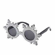 Novelty Christmas Fancy Dress Glasses (Silver Glitter Snowflake)