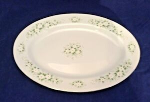 "VANESSA BY CASTLE COURT 12"" OVAL PLATTER WHTE FLOWERS GREEN &GRAY LEAVES VGUC"