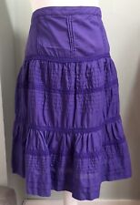 BODEN Purple Violet Gypsy Cotton Skirt Sz10 Lace Layered A-Line Boho Summer NWT