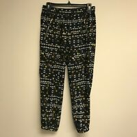 J. Crew Women's Pull On Pants Size 0 Cropped Floral Zip Pockets Elastic Waist