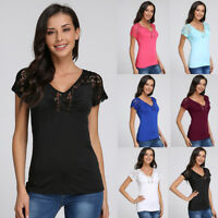 Summer Womens Short Sleeve V Neck Lace T Shirts Casual Slim Fit Tee Blouse Tops