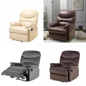 Occasional Pushback Armchair Velvet Recliner Leather Single Sofa Sleeping Chairs