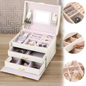 Large Jewellery Box Leather Storage Drawer Box Jewelry Necklace Organizer Box