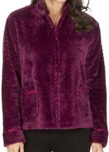 Forever Dreaming Women's Fleece Bed Jacket Waffle Zip Berry Purple Sz. L NEW