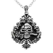 SKULL AND ROSE IVY SPADE NECKLACE BY CONTROSE