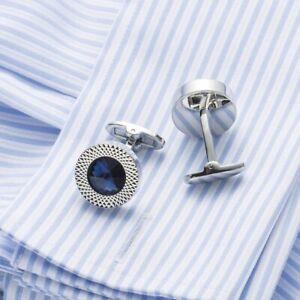 Mens Creative Cuff Links Kupfer Blue Rhinestone Kristall Runde
