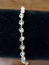 Cube Bracelet w/Korean Crystal inside the cubes all around .925 sterling silver