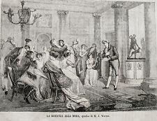 stampa antica old print MUSICA LETTURA SALOTTO ROMANZA MODA ARPA LIRA 1868