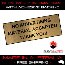 NO ADVERTISING MATERIAL - GOLD SIGN - LABEL - PLAQUE w/ Adhesive 80mm x 30mm