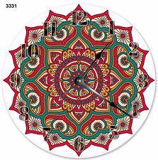 """10.5"""" MANDALA ABSTRACT GEOMETRIC DESIGN CLOCK - Large 10.5"""" Wall Clock - 3331"""