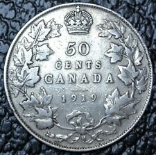 OLD CANADIAN COIN 1919 - 50 CENTS - .925 SILVER - George V - WWI era - Nice
