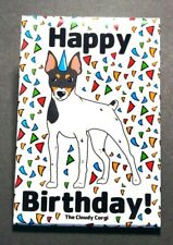 Toy Fox Terrier Dog Happy Birthday Magnet Confetti Celebration Gifts Home Decor