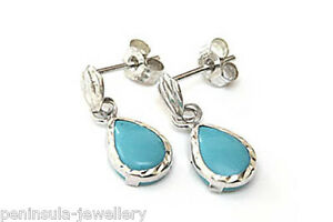 9ct White Gold Turquoise Earrings small Teardrop Made in UK Gift Boxed