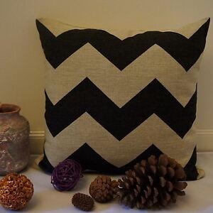 Cotton Linen Cushion Cover Pillow Case Black Chevron Pattern