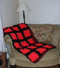 "New handmade crochet granny square afghan 66"" x 70"" inches red black queen size"