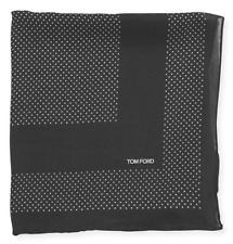 TOM FORD Polka Dot Pocket Square Mulberry Silk Grey BNWT Signature Handkerchief