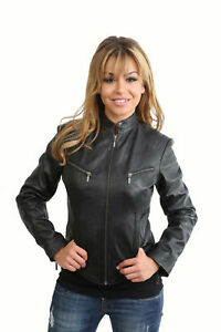 LLD Ladies Real Leather Biker Style Casual Jacket Black Brown Size 8 to 22