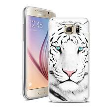 Coque Housse Samsung S 7 + Verre Trempé 9 H - Motif Tigre Blanc