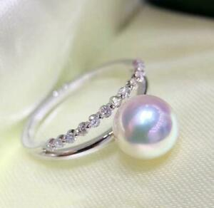 PERFECT AAA+ 8MM WHITE AKOYA GENUINE ROUND PEARL RING adjustable