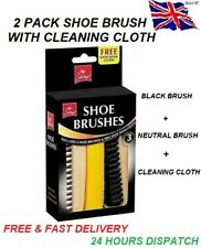2 X SHOE BRUSH BOOT SHINE KIT CLOTH SUEDE LEATHER BLACK BROWN TRAVEL CLEANING