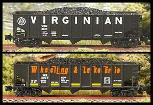 Z Scale COALERS of the VIRGINIAS Rib 70-Ton 3-Bay Hoppers 2-pk.#1 FT NEW