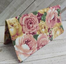Pink Roses Fabric Checkbook Cover Wallet Document Coupon Organizer USA Handmade