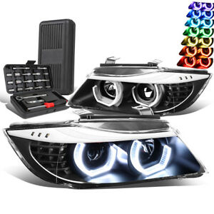 For 2009-2012 BMW E90 3D LED RGB Color Projector Headlight Lamp+Tool Box Black