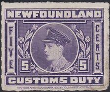 Newfoundland, 1925. Customs Duty NFC3av, Excellent État