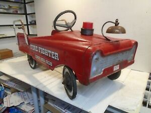 AMF Firefighter Unit No. 508 Pedal Car Fire Truck/Engine - Vintage 1960s