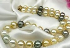 """18""""11-12mm natural south sea genuine white gold black gray round pearl necklace"""