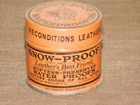 "VINTAGE 2 1/4"" HIGH SNOW PROOF WATERPROOFING LIVONIA NY TIN CAN *EMPTY*"