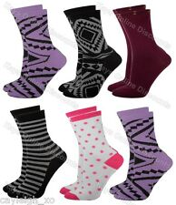 6 Pairs Ladies Coloured Fashion Socks Funky Pattern Design Adults Womens 4-6