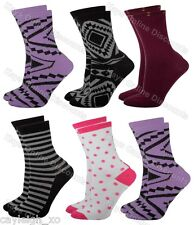 12 Pairs Ladies Neon Coloured Fashion Socks Funky Pattern Design Womens 4-6
