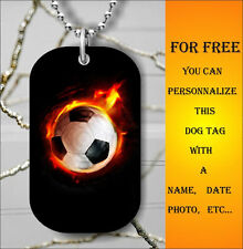SOCCER SPORT BALL IN FIRE DOG TAG PENDANT NECKLACE FREE CHAIN -yrt4Z