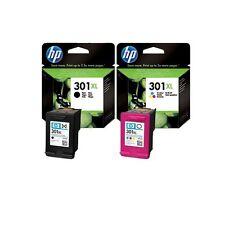 2 BARGAIN ORIGINAL 2017 DATE HP 301XL COLOUR & BLACK INK CARTRIDGES FAST POSTAGE