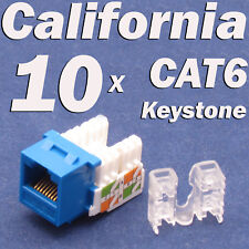 Lot 10 Pcs Keystone 8P8C CAT6 RJ45 Network 110 Style Socket Punch Down Jack Blue