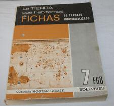 LA TIERRA QUE HABITAMOS FICHAS 7 EGB EDELVIVES 1973, 7º E.G.B., LIBRO DE TEXTO A