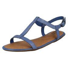 Sandalias y chanclas de mujer planos de piel color principal azul