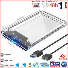 "Boîtier Transparent Disque Dur 2.5"" SSD/HDD USB 3.0 SSD SATA SLIM ELUTENG +5Gb/s"