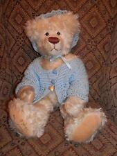 "20"" Carol-Lynn Rossel Waugh Blonde Bear with Blue Sweater - 1990"