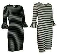 M&S Marks & Spencer Womens Ivory or Black Striped Flute Sleeve Cotton Midi Dress