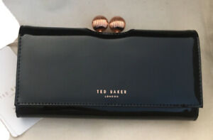 Ted Baker London Bobble Patent Leather Designer Wallet Clutch Black Gold NEW
