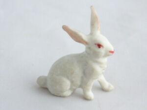 "Antique/vintage bisque 1"" white rabbit for dolls house garden accessory"