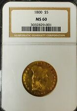 1800 $5 Gold - Half Eagle - NGC MS60 - Beautiful RARE Coin
