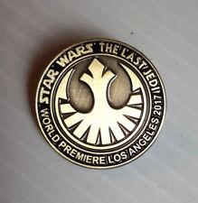 """2017 Star Wars Last Jedi World Premier 1"""" Pin- Limited to 1138 Pins (SWPI-KL-LJ)"""