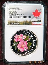 2011 CANADA $20 WILD ROSE COLORED SILVER W/CRYSTALS NGC PF 70 ULTRA CAMEO  POP=9