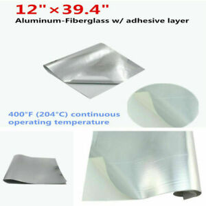 "Car Bike Engine Heat Shield Barrier Aluminum-Fiberglass+Adhesive Layer 12""x39.4"""